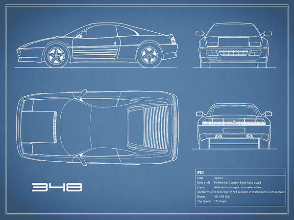 Wall Art - Photograph - Ferrari 348 Blueprint by Mark Rogan