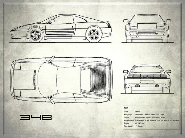 Wall Art - Photograph - Ferrari 348 Blueprint White by Mark Rogan