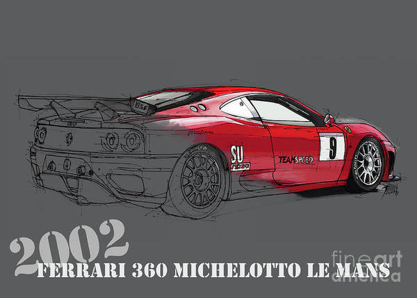 Wall Art - Digital Art - Ferrari 360 Michelotto Le Mans Race Car. Grey Background by Drawspots Illustrations