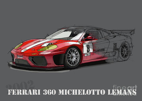Wall Art - Digital Art - Ferrari 360 Michelotto Le Mans Race Car. by Drawspots Illustrations