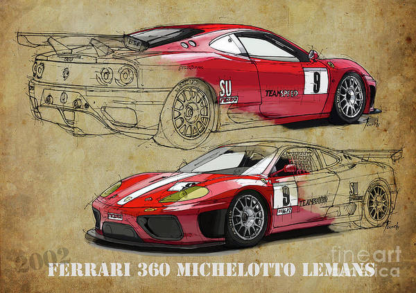 Wall Art - Digital Art - Ferrari 360 Michelotto Le Mans Race Car. Two Drawings One Print by Drawspots Illustrations