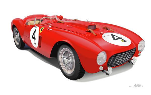 Wall Art - Drawing - Ferrari 375 Plus by Alain Jamar