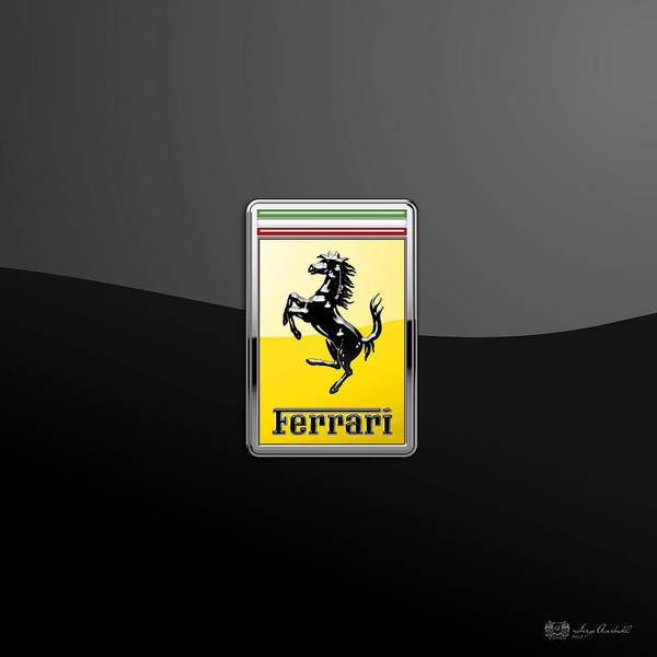 Wall Art - Photograph - Ferrari 3d Badge- Hood Ornament On Black by Serge Averbukh