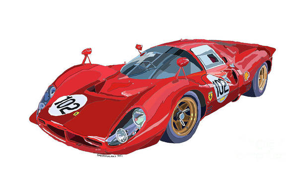Racing Car Digital Art - Ferrari 412p 330 P4 1967 Le Mans by Yuriy Shevchuk