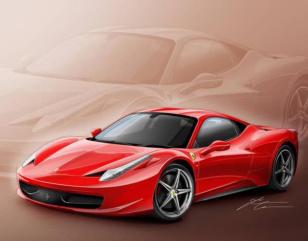 458 Digital Art - Ferrari 458 2011 by Etienne Carignan