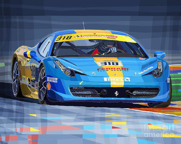 Car Digital Art - Ferrari 458 Challenge Team Ukraine 2012 Variant by Yuriy Shevchuk