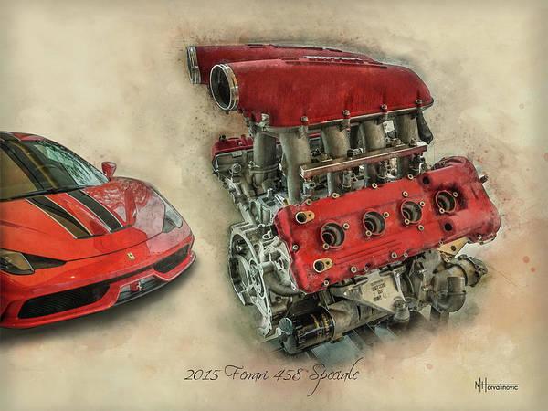 458 Digital Art - 2015 Ferrari 458 Speciale With Engine by Matt Horvatinovic