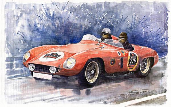 Motorsport Painting - 1953-1955 Ferrari 500 Mondial 1000 Miglia by Yuriy Shevchuk