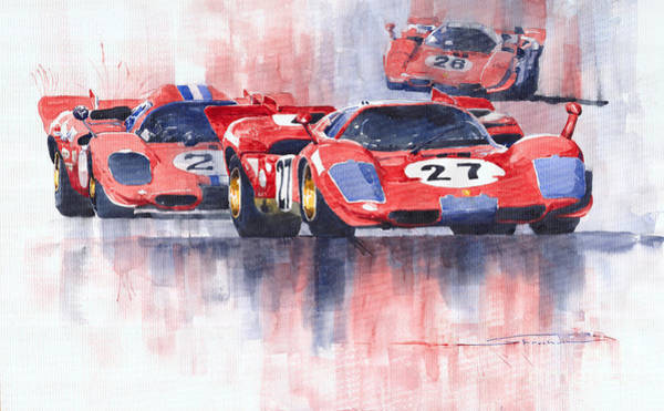 Ferrari Wall Art - Painting - Ferrari 512 S 1970 24 Hours Of Daytona by Yuriy Shevchuk