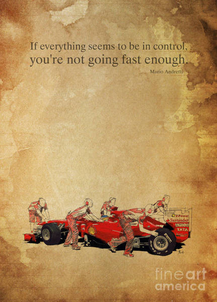 Wall Art - Painting - Ferrari A Boxes - Andretti Quote by Drawspots Illustrations