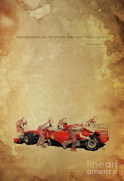 Formula 1 Digital Art - Ferrari Artwork And Ferrari Quote On Vintage Brown Background by Drawspots Illustrations