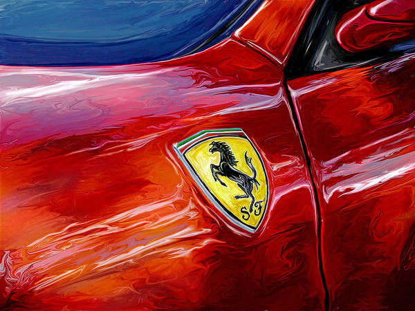 Sports Car Wall Art - Digital Art - Ferrari Badge by David Kyte