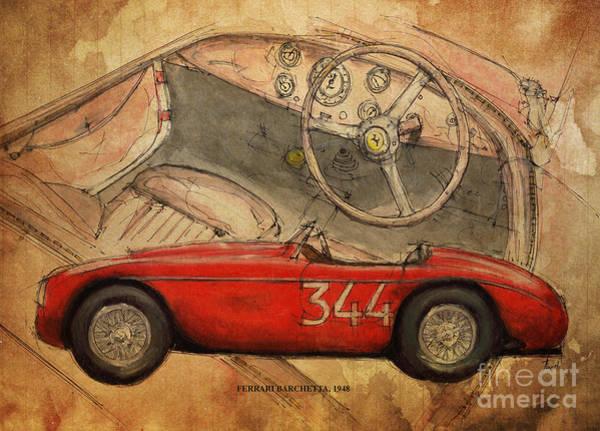Car Drawing - Ferrari Barchetta 1948 by Drawspots Illustrations