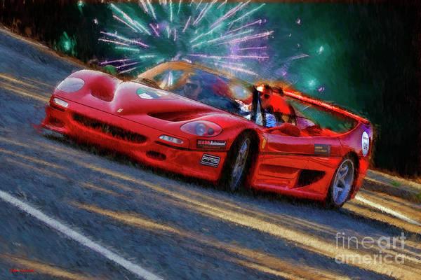 Photograph - Ferrari Blue Fireworks by Blake Richards