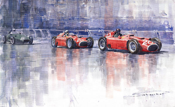 Wall Art - Painting - Ferrari D50 Monaco Gp 1956 by Yuriy Shevchuk