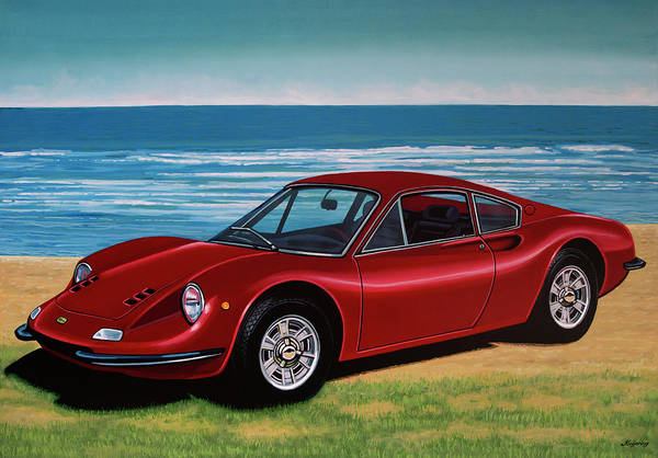 Car Show Painting - Ferrari Dino 246 Gt 1969 Painting by Paul Meijering