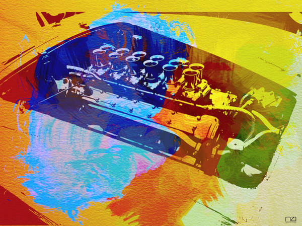 Car Digital Art - Ferrari Engine Watercolor by Naxart Studio