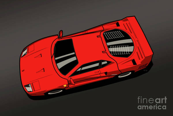 Wall Art - Digital Art - Ferrari F40 Red by Monkey Crisis On Mars