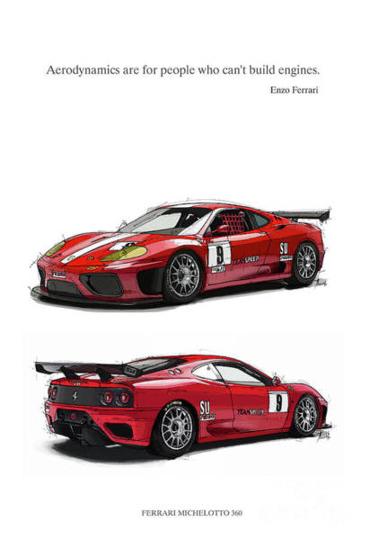 Are Digital Art - Ferrari Michelotto. Aerodynamics Are For People Who Can T Build Engine by Drawspots Illustrations