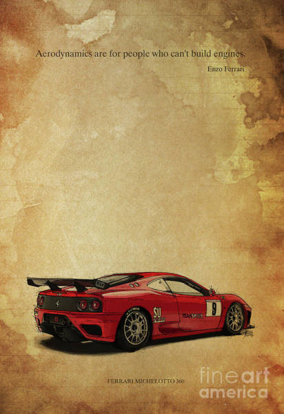 Wall Art - Digital Art - Ferrari Michelotto And Enzo Ferrari Quote. Aerodynamics Are For People Who Can T Build Engines by Drawspots Illustrations