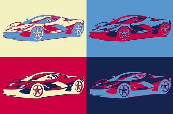 Fast Mixed Media - Ferrari Pop Art Panels by Dan Sproul