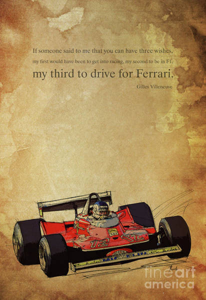 Man Cave Drawing - Ferrari Race Car, Gift For Men, Brown Background, Original Giles Villeneuve Inspirational Quote by Drawspots Illustrations