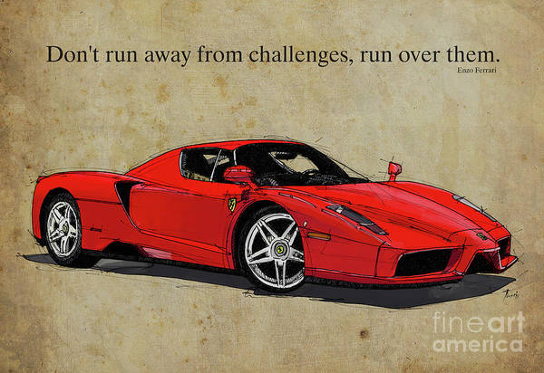 Wall Art - Mixed Media - Ferrari Red Classic Car And Enzo Ferrari Quote, Vintage Brown Background by Drawspots Illustrations