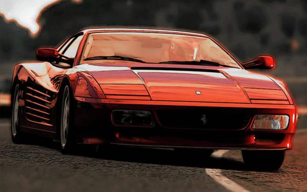 Painting - Ferrari Testarossa At Sunset by Andrea Mazzocchetti