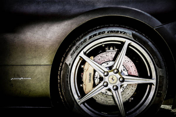 Wall Art - Photograph - Ferrari Wheel Emblem -1526ac by Jill Reger