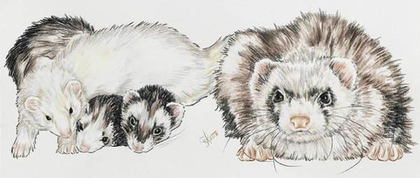 Mixed Media - Ferret Family by Barbara Keith