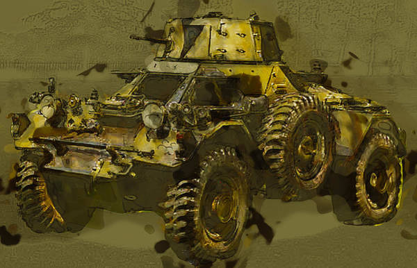 Automobile Mixed Media - Ferret Scout Car by Roy Pedersen