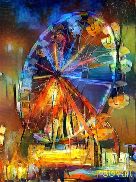 Orange County Digital Art - Ferris Wheel 1 by Patty Vicknair