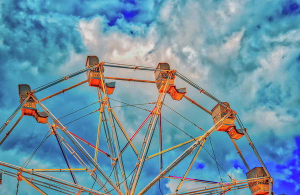 Photograph - Ferris Wheel And Clouds by Gary Slawsky