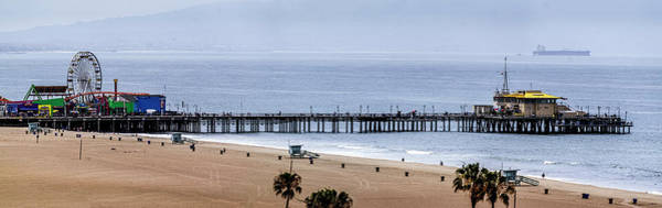 Photograph - Ferris Wheel And Santa Monica Pier - Panorama by Gene Parks