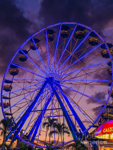 Photograph - Ferris Wheel In Blue by Robin Zygelman