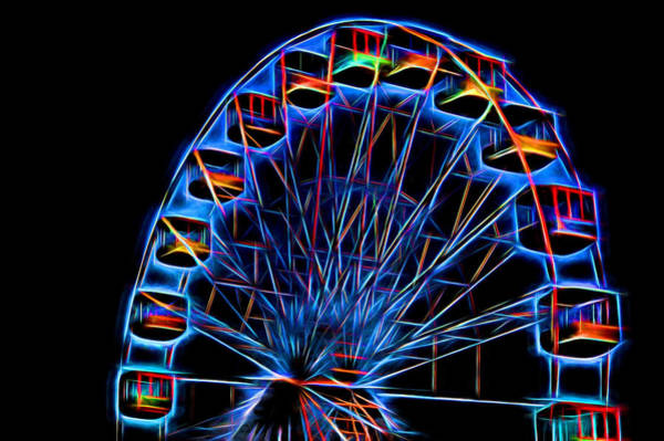 Photograph - Ferris Wheel Neon by Terry DeLuco