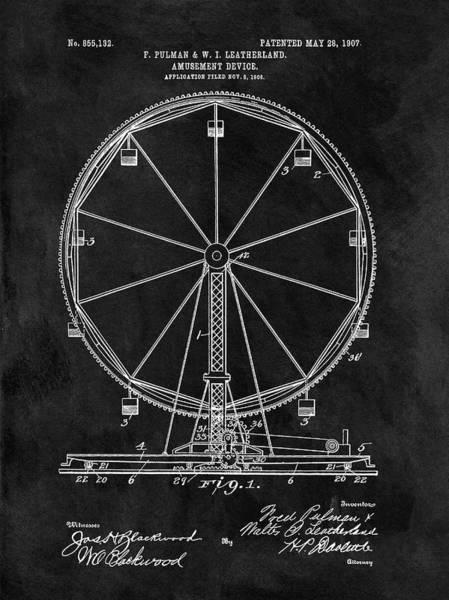 Nostalgia Drawing - Ferris Wheel Patent by Dan Sproul