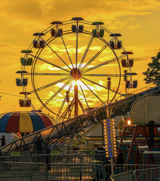 Photograph - Ferris Wheel Sunset At Fair by Dan Sproul