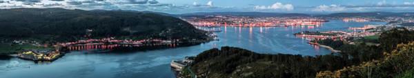 Ferrol's Estuary Panorama From La Bailadora Galicia Spain Art Print