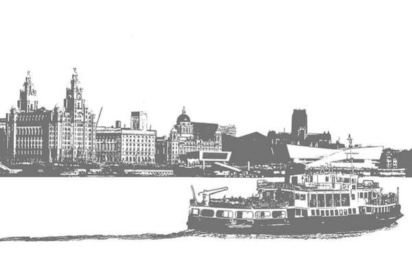 Liverpool Skyline Digital Art - Ferry Across The Mersey by Colin Perkins