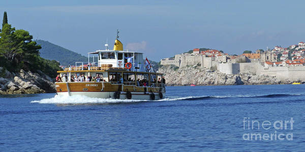 Lokrum Photograph - Ferry And Dubrovnik Old City by Phil Banks