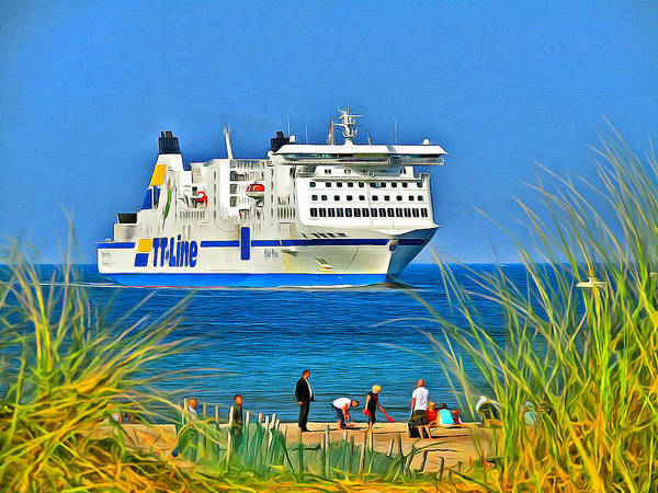 Baltic Sea Painting - Ferry - Baltic Sea by Alexandra Kleist