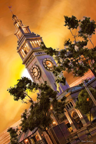 Photograph - Ferry Building Golden Sun by Blake Richards