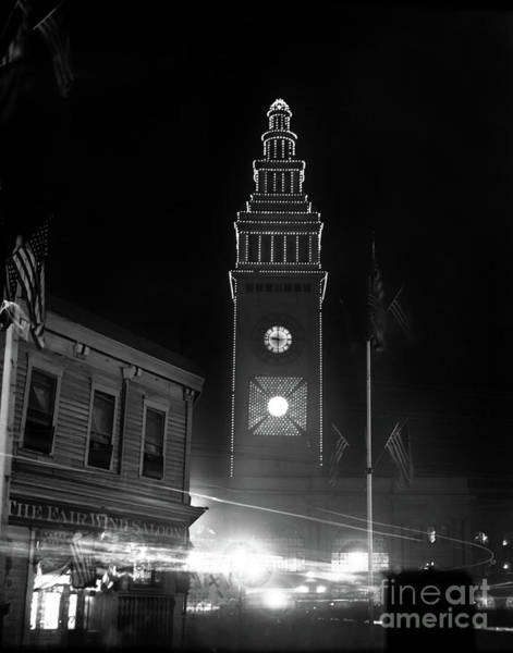 Photograph - Ferry Building, The Fair Wind Saloon, San Francisco At Night Circa 1900 by California Views Archives Mr Pat Hathaway Archives