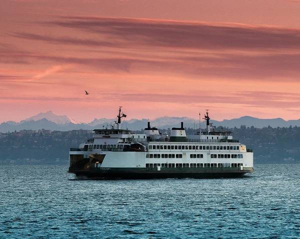 Photograph - Ferry Cathlamet At Dawn.1 by E Faithe Lester