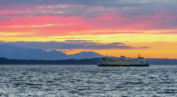 Ferry In Puget Sound Art Print