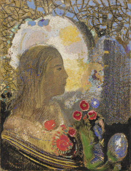 Impressionistic Drawing - Fertility. Woman In Flowers by Odilon Redon