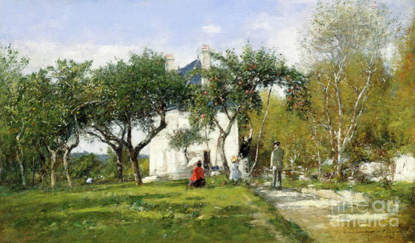 Shadow And Light Painting - Fervaques, Garden And House Of Monsieur Jacquette, 1877 by Eugene Louis Boudin