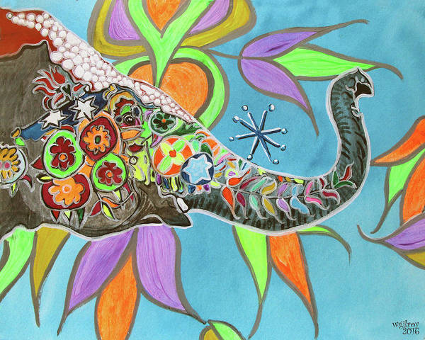 D.w Painting - Festival Elephant by W Gilroy