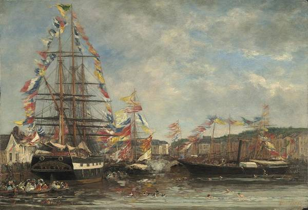 Wall Art - Painting - Festival In The Harbor Of Honfleur by Eugene Boudin